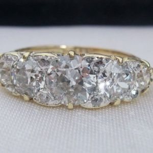 Old cut diamond 5 stone ring