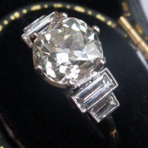 Antique 2.43ct solitaire diamond ring