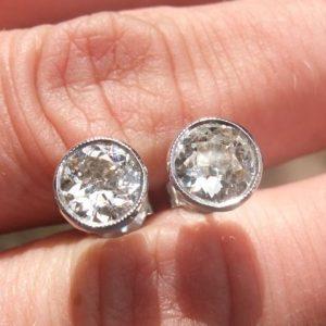 Old cut diamond earrings 1.60ct