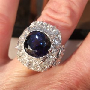 6ct natural sapphire & 2ct old cut diamond antique ring