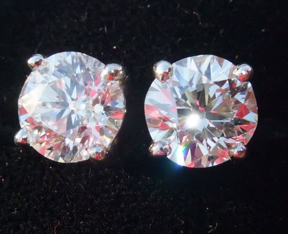 Superlative old cut diamond solitaire earrings 3.47CT