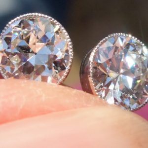 Top quality old cut diamond stud earrings
