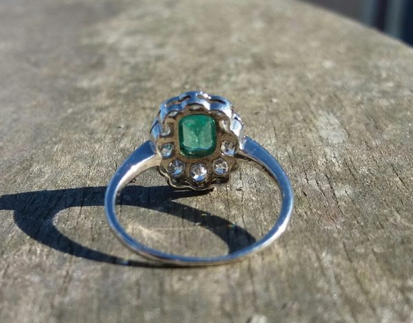 Vibrant Emerald & old cut diamond ring