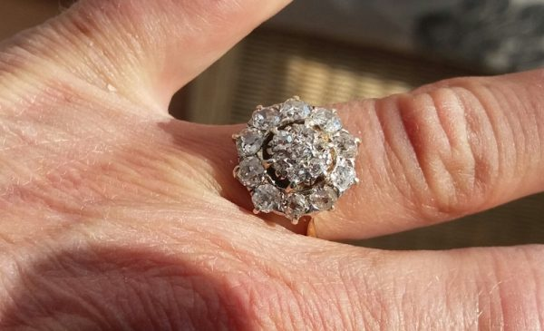 Old cut diamond cluster ring is stunning