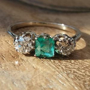 Columbian Emerald and Antique diamond 3 stone ring