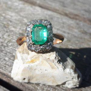 Emerald & old cut diamond ring