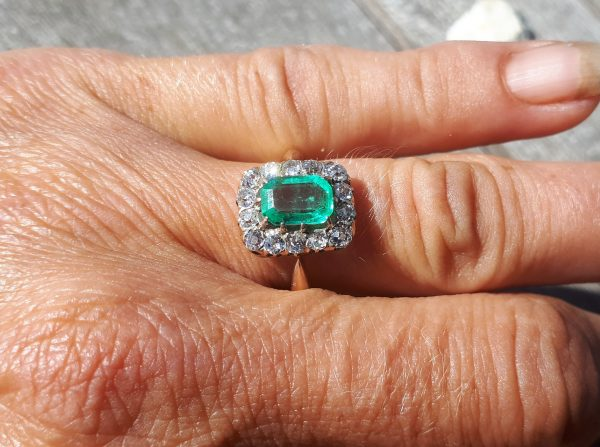 Emerald & old cut diamond ring