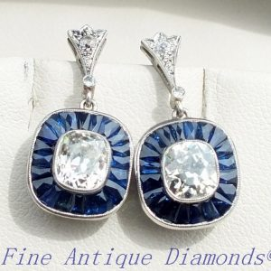 1.70ct old cushion cut diamond and sapphire earrings