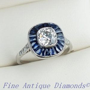 Superb old cut diamond & sapphire target ring