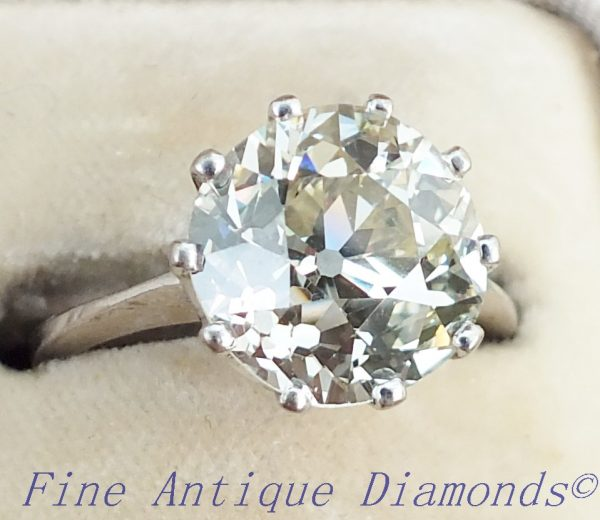 Rare antique old cut diamond solitaire ring 4ct
