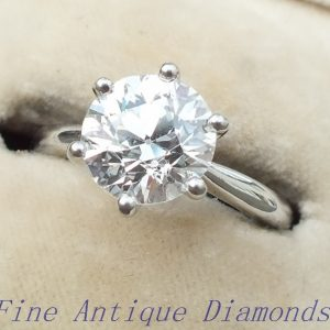 GIA certified old cut 2.01ct diamond solitaire platinum ring