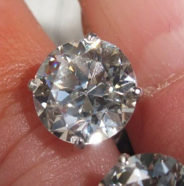 Old cut diamond stud earrings 2.85ct