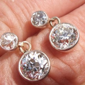 Old cut diamond solitaire drop earrings 2.70ct