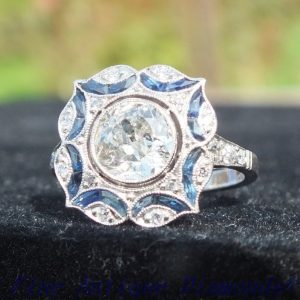 Antique old cut diamond and sapphire ring