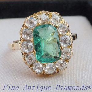 Antique emerald & old cut diamond ring