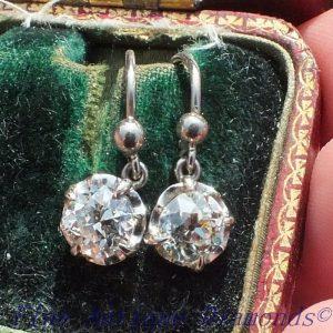 2.04 old cut diamond earrings