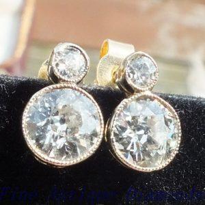 Elegant old cut diamond stud earrings