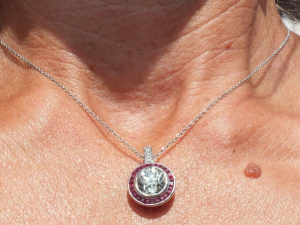 Old cut diamond pendant with ruby surround nearly 3ct