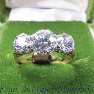 2.50ct old cut diamond trilogy ring