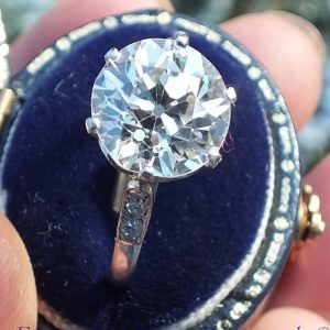 Original platinum 3.10 old cut diamond solitaire ring