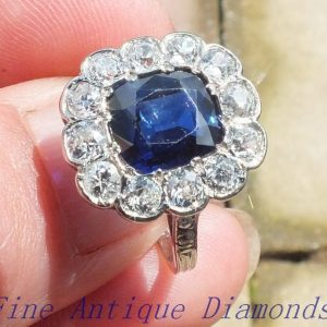 No heat sapphire and old cut diamond ring