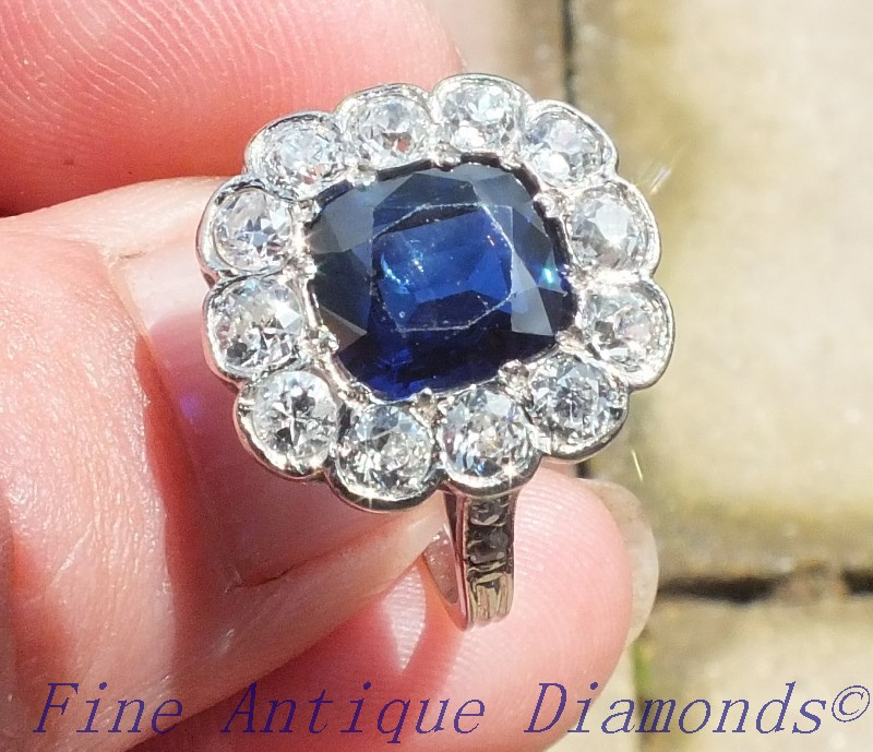 0ee83220d5417 SOLD. NATURAL - NO HEAT SAPPHIRE & OLD CUT DIAMOND RING