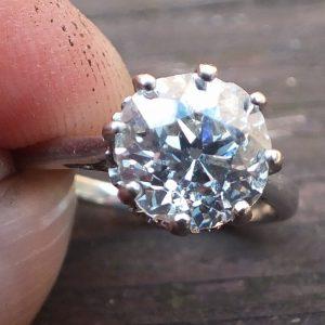 2.20 old cut diamond solitaire platinum ring