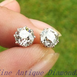 Certified 2.18ct old cut diamond stud earrings