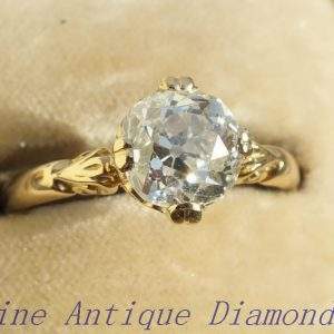 Original old victorian cut diamond solitaire ring