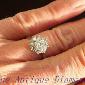 Stunning vintage old cut diamond cluster ring