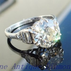Exquisite 3ct old cut diamond solitaire platinum ring
