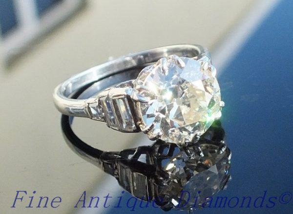 Exquisite 3ct old cut diamond solitaire platinum ring