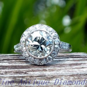 3ct old cut diamond target platinum ring