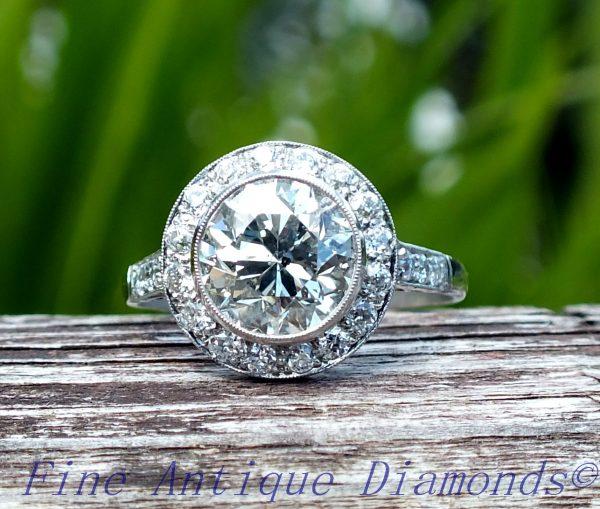 3ct old cut diamond target platinum ring