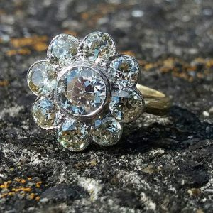Old cut diamond cluster ring