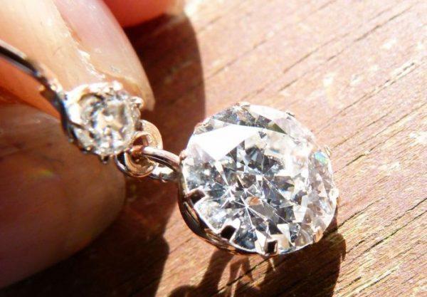 3.50ct old European cut diamond earrings