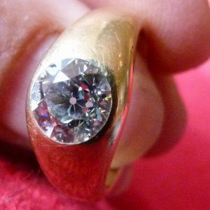 Stunning old European cut gypsy ring 1.70ct