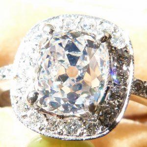 Platinum set cushion cut diamond ring 1.90ct