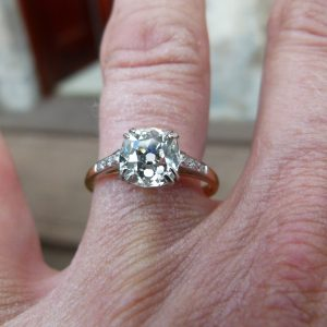 Old European cut diamond solitaire ring 1.67ct