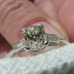 Old cut cushion diamond ring platinum