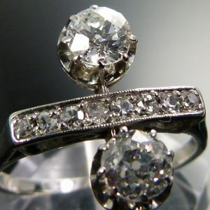 Old cut 2 stone diamond art deco ring