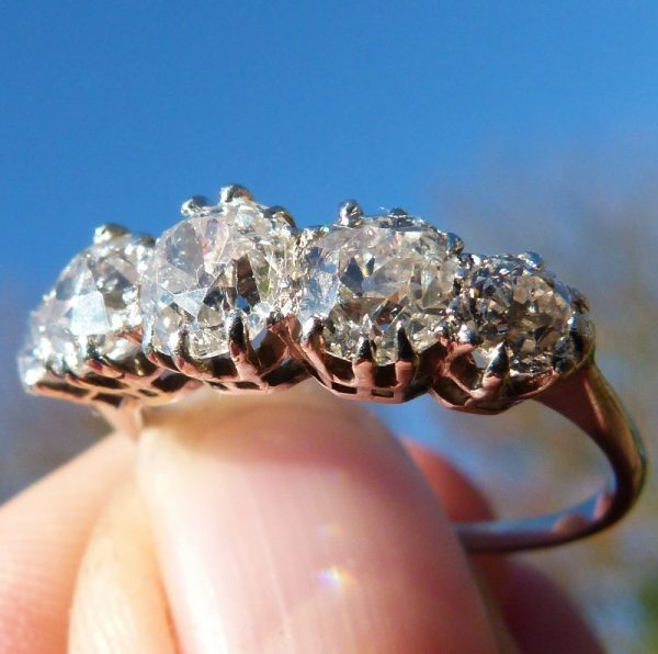 2.53ct special antique diamond 5 stone ring