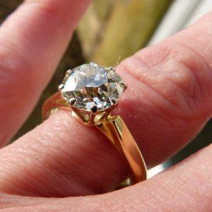 Elegant 2.23ct old cut diamond solitaire ring