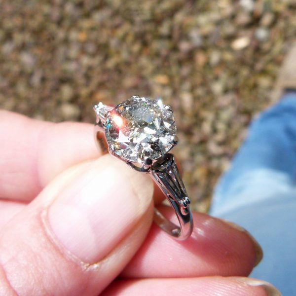 Antique old cut diamond solitaire ring 2.50ct