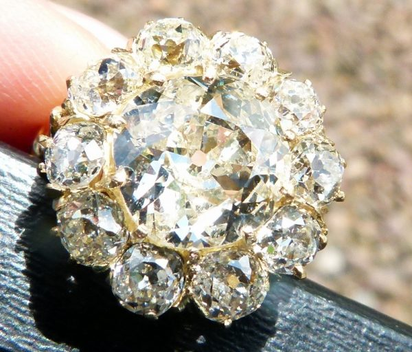 Exceptional 5.20ct old cut diamond cluster ring