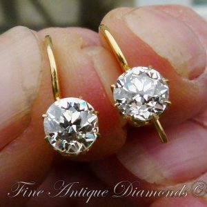 Antique victorian 1.50ct old cut diamond earrings
