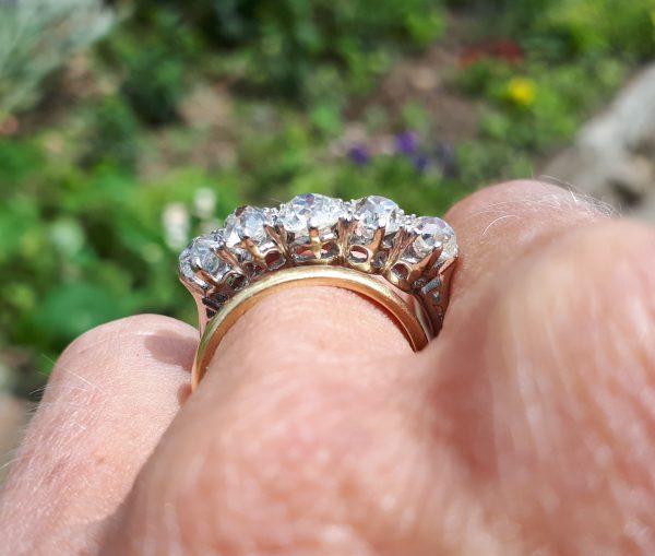 3ct platinum 5 stone diamond ring