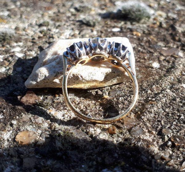 1.20ct old cut diamond & sapphire trilogy ring