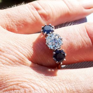 1.20ct old cut diamond & sapphire trilogy ring