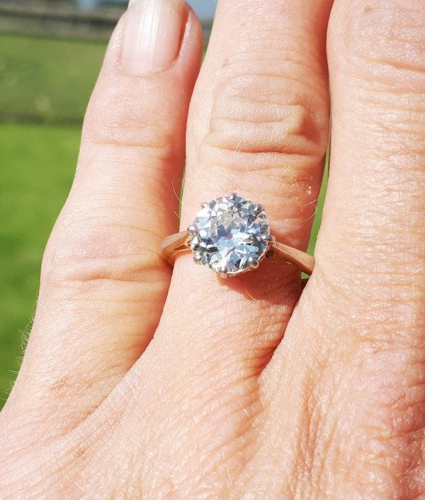 Exceptional 2.30ct old cut diamond solitaire ring